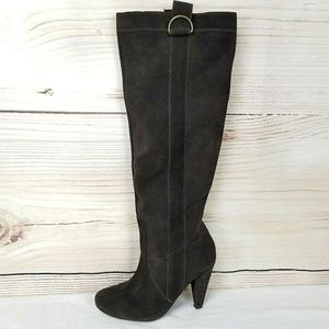 ALDO Suede High Heel Tall Knee Boots Pull On Brown